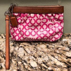 Pink Coach OP ART Wristlet